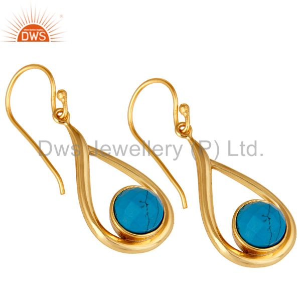 Wholesalers 18k Yellow Gold Plated Sterling Silver Turquoise Drop Dangle Earring