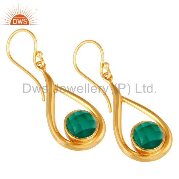 Wholesalers 18k Yellow Gold Plated Green Onyx Sterling Silver Earring
