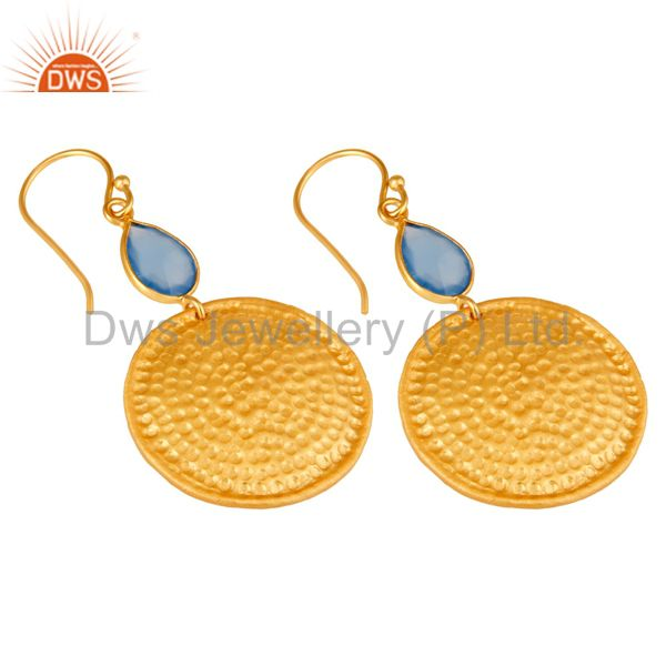 Wholesalers 22K Gold Plated Sterling Silver Blue Chalcedony Hammered Disc Dangle Earrings