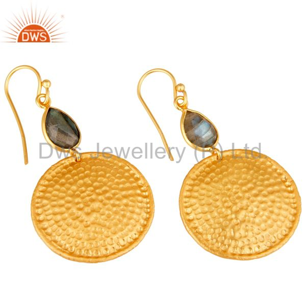 Wholesalers 22K Gold Plated Sterling Silver Hammered Disc Dangle Earrings With Labradorite