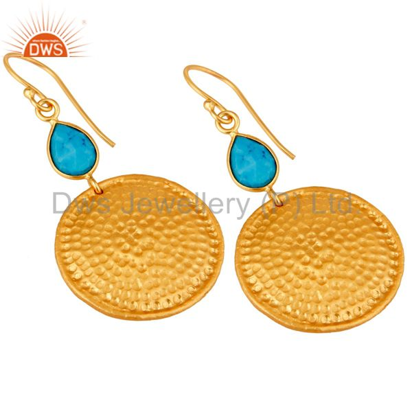 Wholesalers 22K Gold Plated Sterling Silver Turquoise Disc Dangle Hammered Earrings