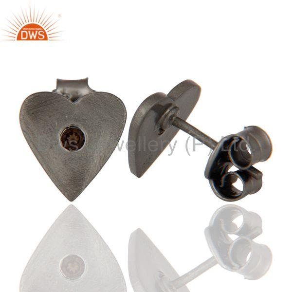 Exporter Black Rhodium Plated Brass Fashion Heart Design Stud Earrings Wholesale Jewelry