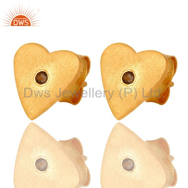 Exporter 24K Yellow Gold Plated Sterling Silver Smoky Quartz Heart Stud Earrings
