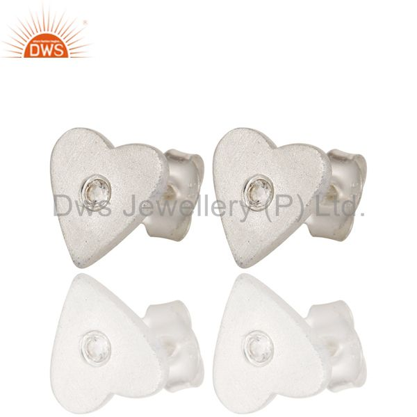Wholesalers 925 Solid Sterling Silver White Topaz Gemstone Heart Stud Earrings For Her