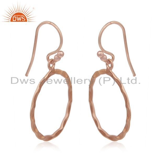 Exporter 18K Rose Gold Plated Sterling Silver Hammered Circle Dangle Hook Earrings