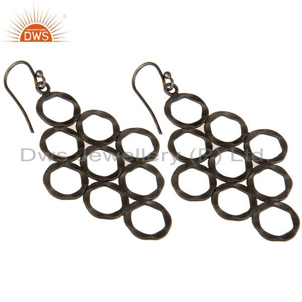 Wholesalers 925 Sterling Silver With Oxidized Hammered Open Circle Dangle Earrings