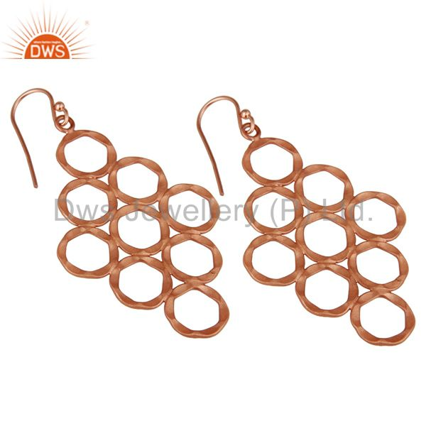 Wholesalers 18K Rose Gold Plated Sterling Silver Hammered Multi Open Circle Dangle Earrings