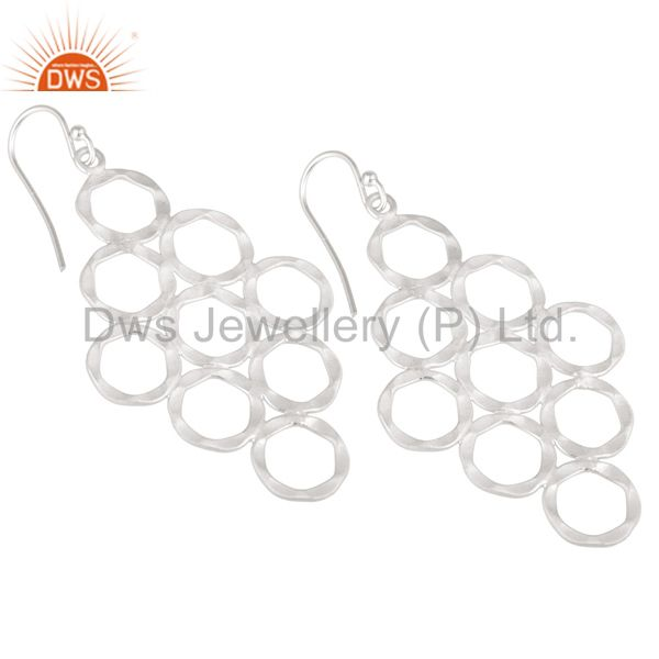 Wholesalers Handmade 925 Solid Sterling Silver Hammered Multi Circle Dangle Earrings