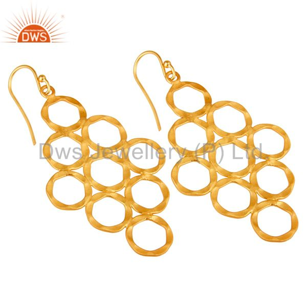 Wholesalers 24K Yellow Gold Plated Sterling Silver Hammered Open Circle Dangle Earrings