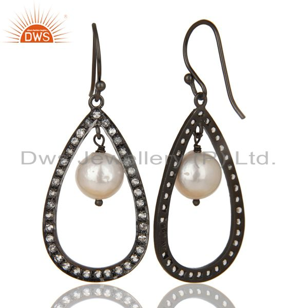Exporter Black Oxidized 925 Sterling Silver White Topaz & Pearl Beads Drops Earrings