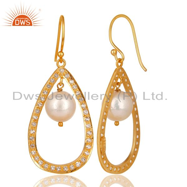 Exporter 14K Gold Plated 925 Sterling Silver White Topaz & Pearl Beads Drops Earrings
