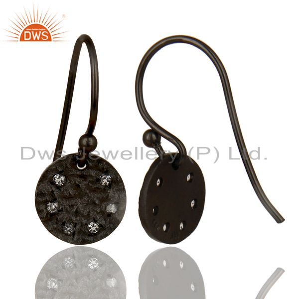 Exporter Black Oxidized 925 Sterling Silver Handmade White Topaz Drops Earrings Jewelry