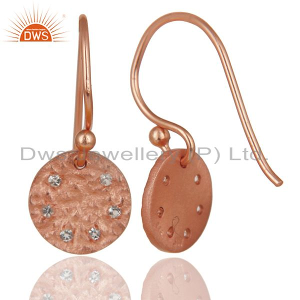 Exporter 14K Rose Gold Plated 925 Sterling Silver Handmade White Topaz Drops Earrings