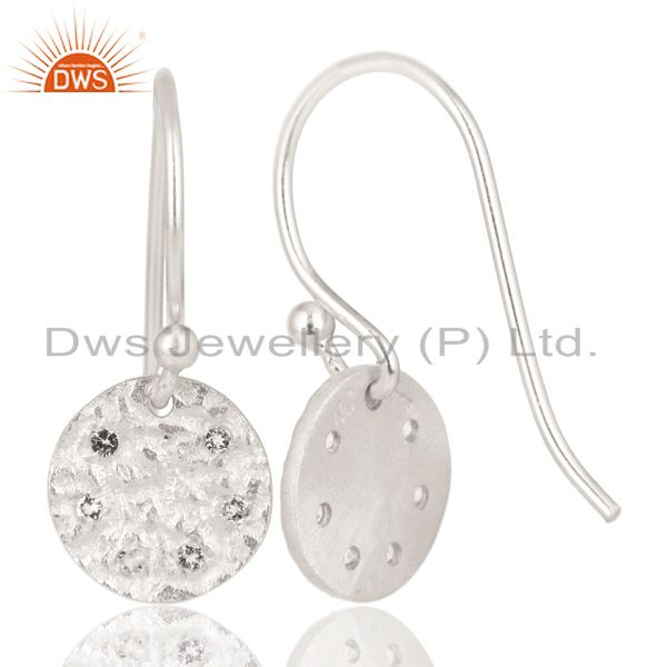 Exporter Solid 925 Sterling Silver Handmade White Topaz Disc Drops Earrings Jewelry
