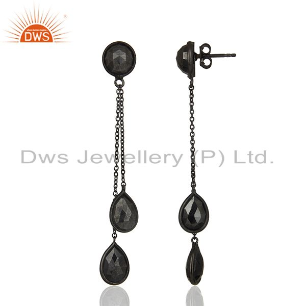 Exporter Hematite Gemstone 925 Black Silver Designer Earrings Manufacturers