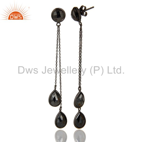 Suppliers Black Oxidized 925 Sterling Silver Faceted Hematite Chain Link Dangle Earrings
