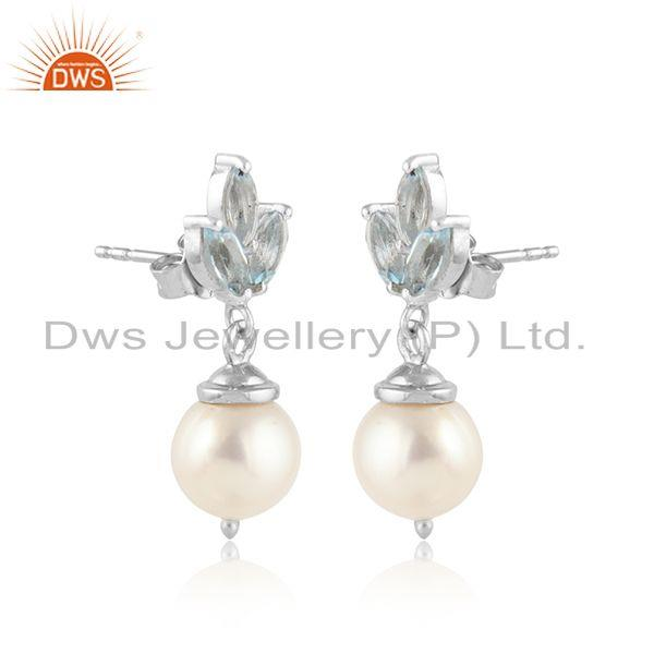 White rhodium plated silver pearl crystal quartz gemstone earring