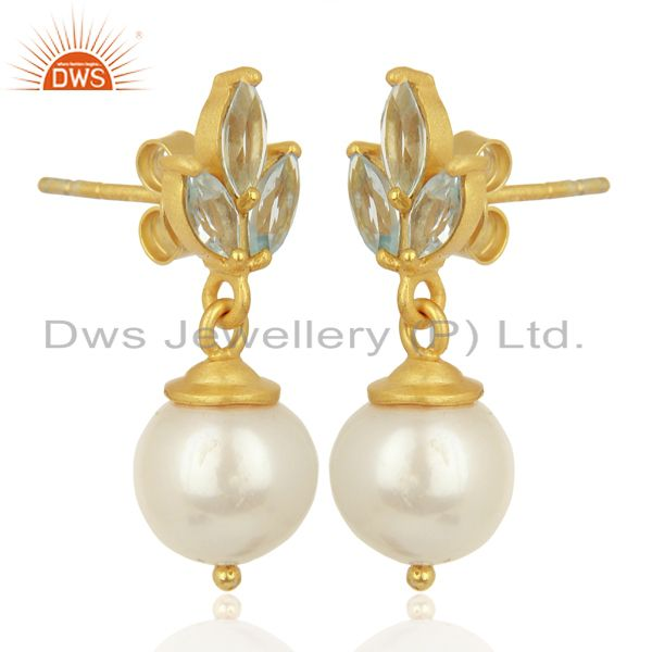 Exporter Blue Topaz Pearl Dangle 18K Gold Plated 925 Sterling Silver Earrings Jewelry