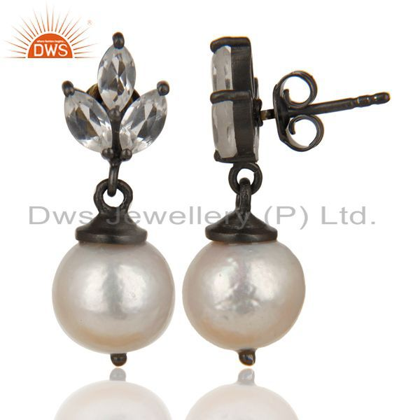 Exporter Black Oxidized 925 Sterling Silver Crystal Quartz & Pearl Beads Drops Earrings