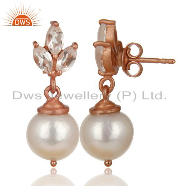Exporter 14K Rose Gold Plated 925 Sterling Silver Crystal Quartz & Pearl Drops Earrings