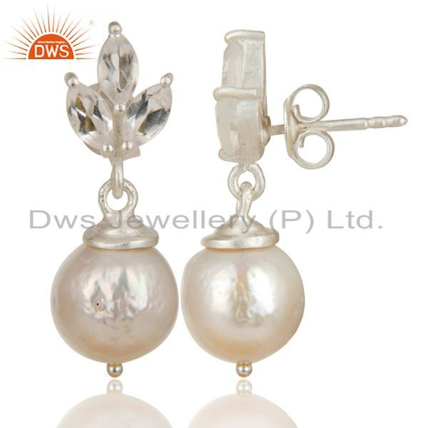 Exporter Solid 925 Sterling Silver Crystal Quartz & Pearl Beads Drops Earrings Jewelry