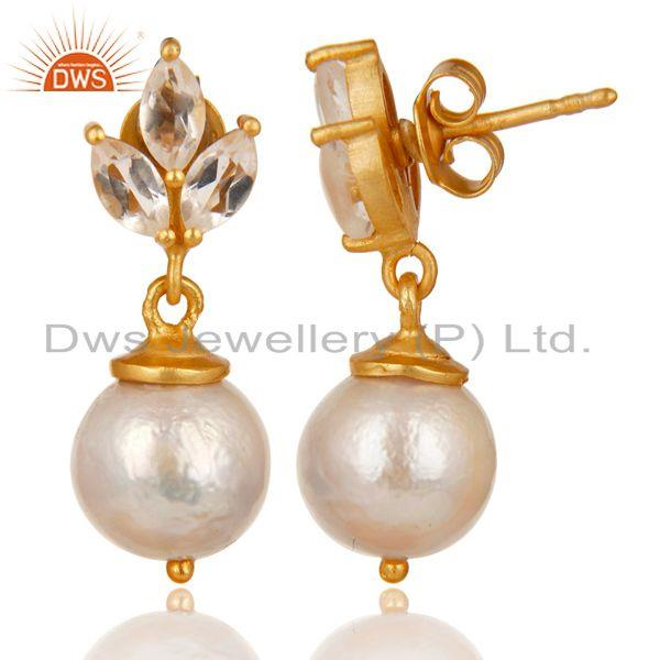 Exporter 14K Gold Plated 925 Sterling Silver Crystal Quartz & Pearl Beads Drops Earrings