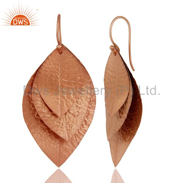Exporter 18K Rose Gold Plated Sterling Silver Hammered Leaves Triple Drop Earrings