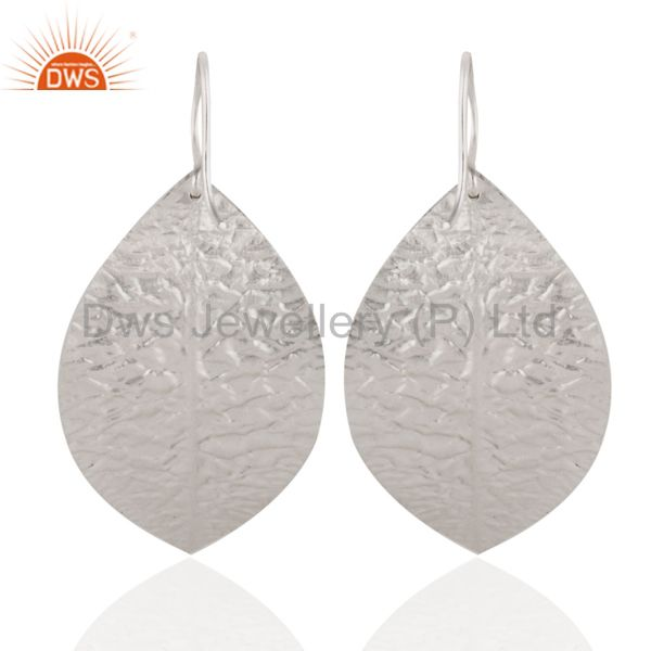 Manufacturer of Handmade 925 Sterling Silver Hammered Leaves Triple Drop Earrings Jewelry