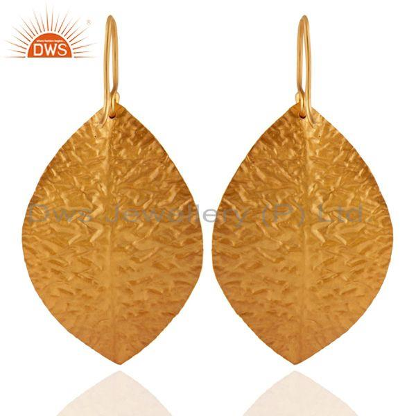 Exporter 18K Yellow Gold Plated Sterling Silver Hammered Leaves Triple Drop Earrings