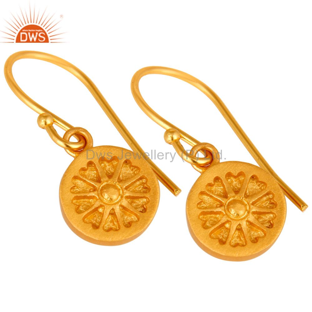Exporter 22K Yellow Gold Plated Sterling Silver Circle Dangle Earrings For Womens