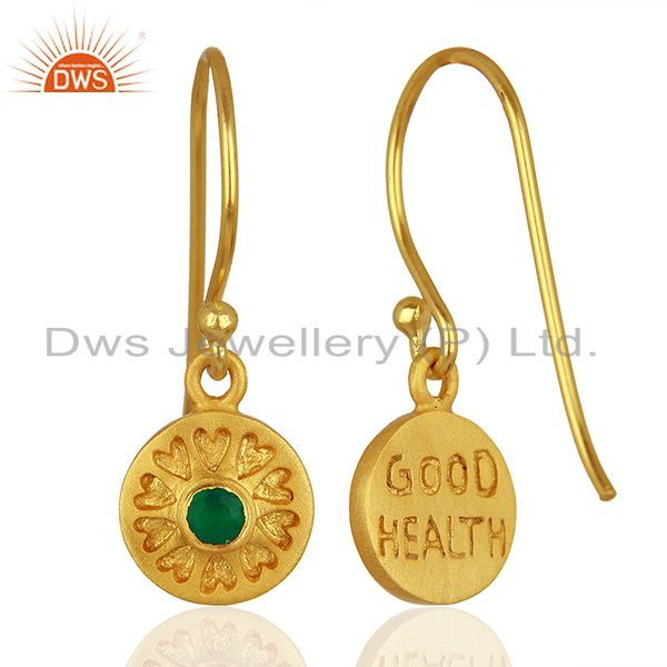 Exporter Designer Gold Plated Silver Green Onyx Gemstone Earrings Manufacturer
