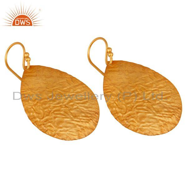 Exporter 14K Gold Plated 925 Sterling Silver Hammered Lightweight Petals Dangle Earrings