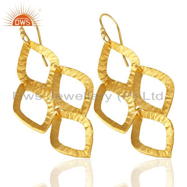 Exporter 18K Yellow Gold Plated Sterling Silver Cutout Dangle Earrings