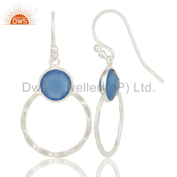 Suppliers Indian Handmade Solid 925 Sterling Silver Dyed Blue Chalcedony Gemstone Earrings
