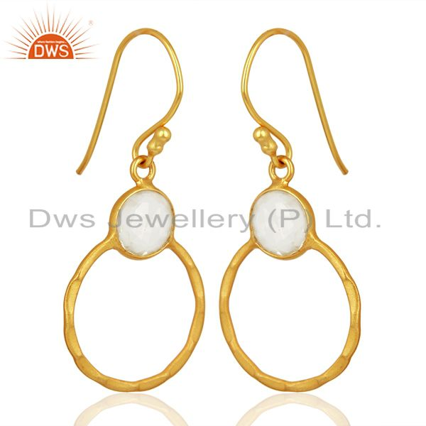 Exporter Crystal Quartz Dangle 14K Gold Plated 925 Sterling Silver Earrings Jewelry