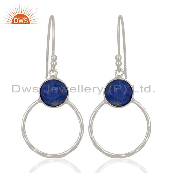 Exporter Lapis Lazuli Vintage Double Circle Sterling Silver White Rhodium Plated Earring
