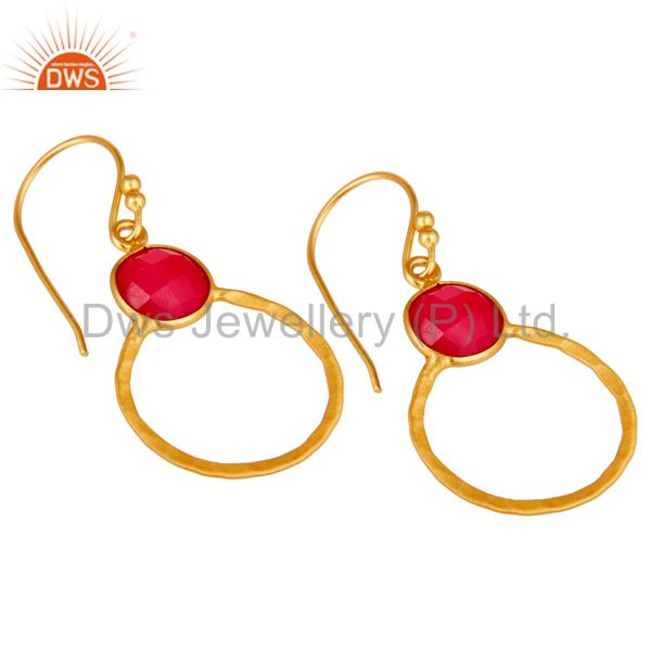 Wholesalers Red Aventurine 18K Gold Plated Sterling Silver Circle Earring