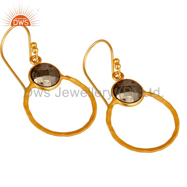 Wholesalers Pyrite and 18K Gold Plated Sterling Silver Circle Earring