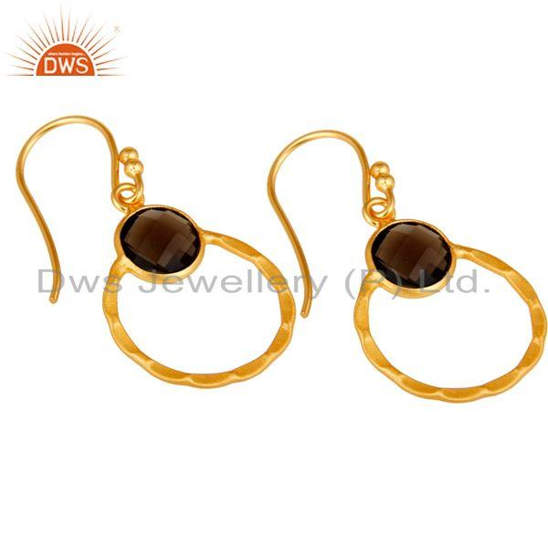 Exporter Smokey 18K Gold Plated Sterling Silver Circle Earring