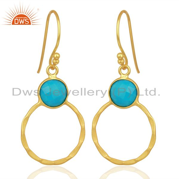 Exporter Turquoise Dangle 18K Gold Plated 925 Sterling Silver Earrings Jewelry
