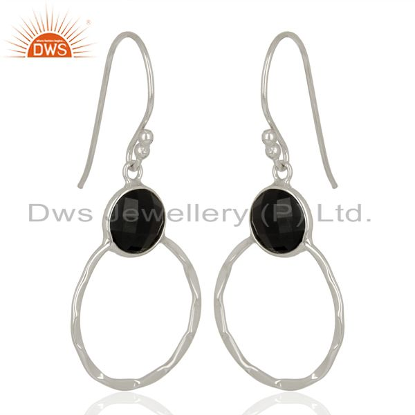Exporter Black Onyx Vintage Double Circle Sterling Silver White Rhodium Plated Earring