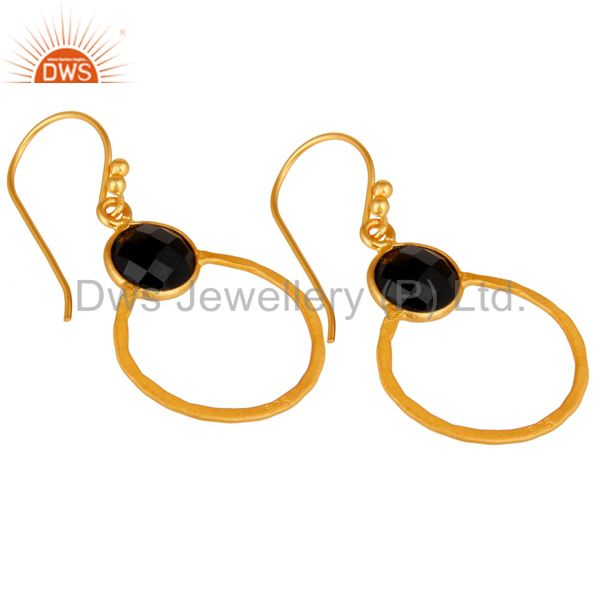 Wholesalers Black Onyx 18K Gold Plated Sterling Silver Circle Earring