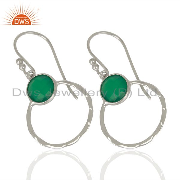 Exporter Green Onyx Double Circle 925 Sterling Silver White Rhodium Plated Earring
