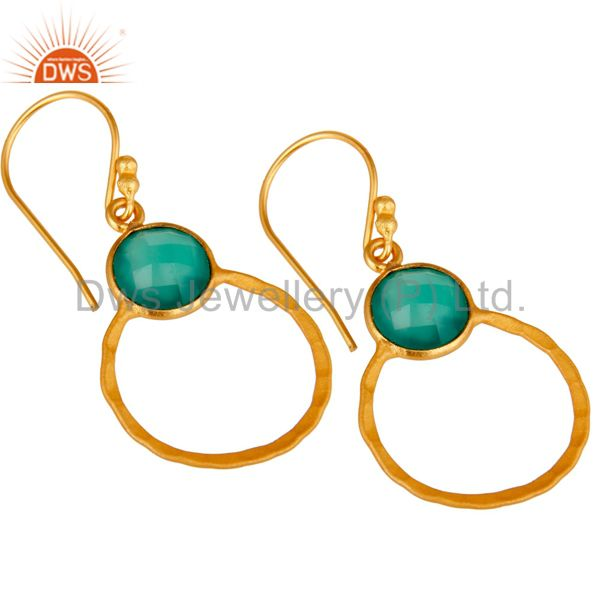 Wholesalers Green Onyx & 18K Gold Plated Sterling Silver Circle Earring