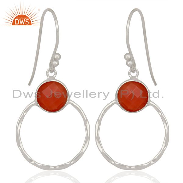 Exporter Red Onyx Double Circle  925 Sterling Silver White Rhodium Plated Earring