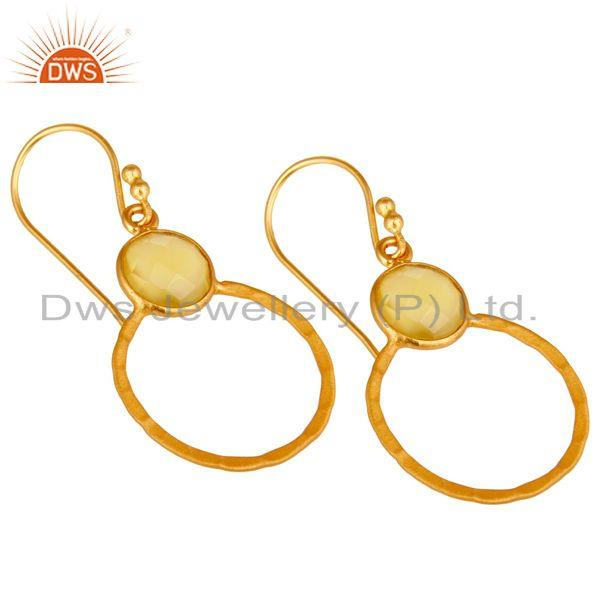 Wholesalers Yellow Chalcedony 18K Gold Plated Sterling Silver Circle Earring
