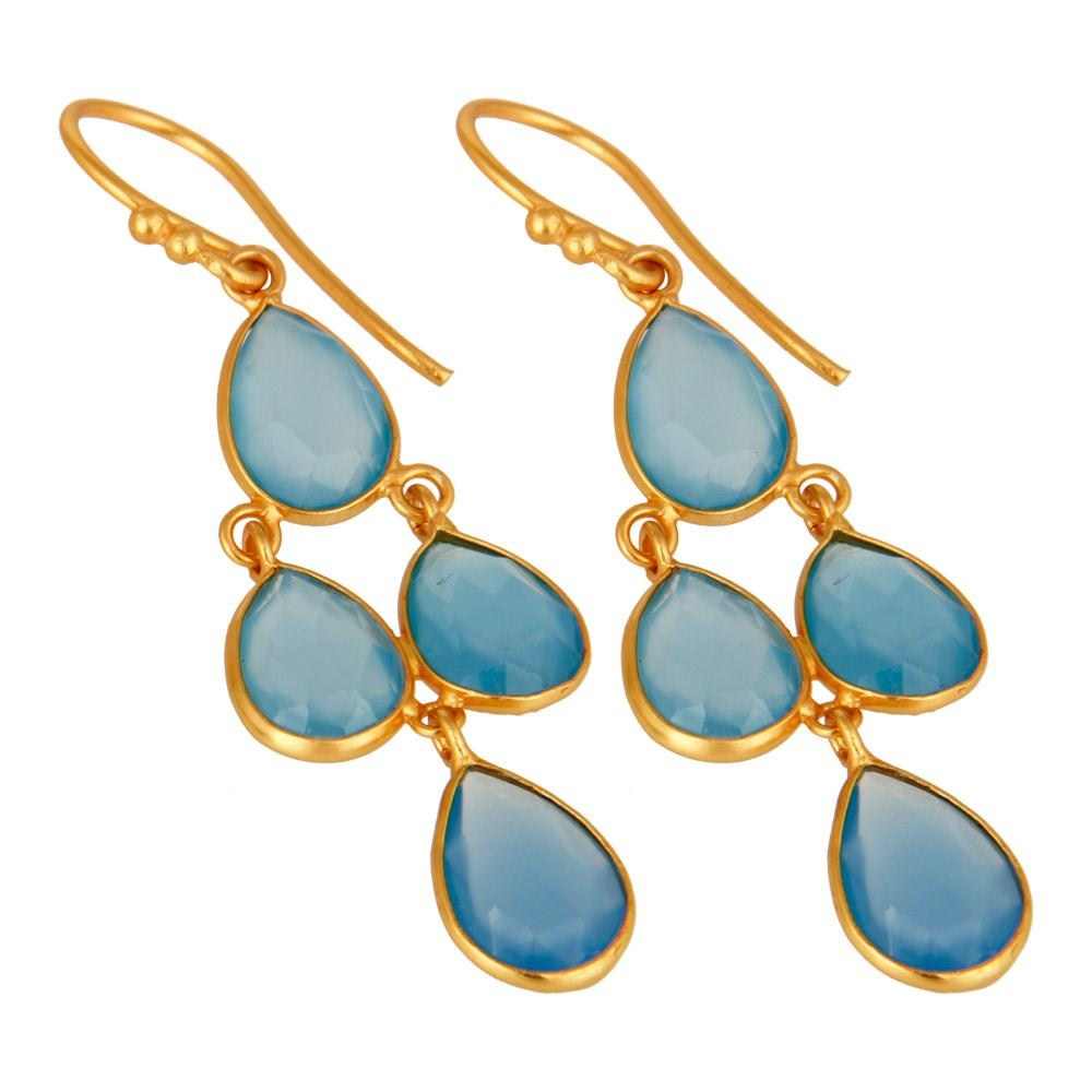 Gemstone Jewelry Blue Chalcedony earring Gemstone Jewelry Wholesale India