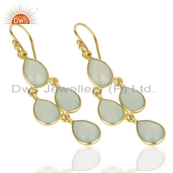 Wholesalers Faceted Dyed Blue Chalcedony Bezel-Set Chandelier Earrings - Gold Plated Silver
