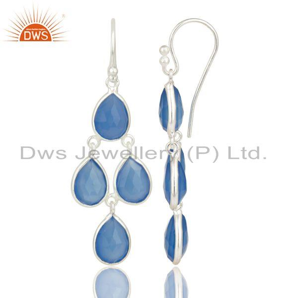 Suppliers Indian Handmade Solid 925 Sterling Silver Dyed Blue Chalcedony Dangle Earrings