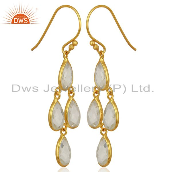 Exporter 18K Yellow Gold Plated Sterling Silver Crystal Quartz Bezel Set Dangle Earrings